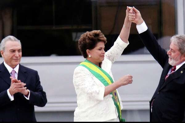 "Three former presidents of Brazil, from left Michel Temer (2016-18), Dilma Rousseff (2011-16) and Luiz Inacio Lula da Silva (2003-10) from the documentary ""The Edge of Democracy."" (Orlando Brito / Netflix/TNS))"