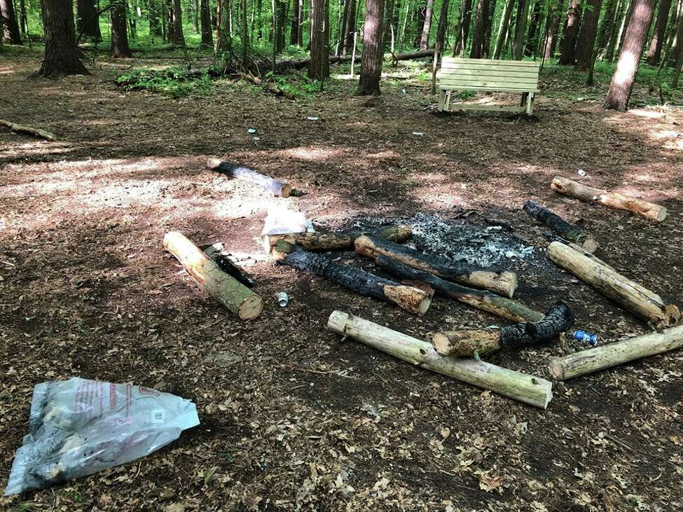An illegal bonfire in May 2019 at Kinns Road Park, Clifton Park.