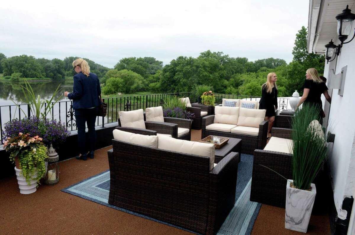 Guests of Mazzone Hospitality tour of the newly remodeled lobby and renovated hotel rooms and suites on Wednesday, June 19, 2019, at Glen Sanders Mansion in Scotia, N.Y. (Catherine Rafferty/Times Union)