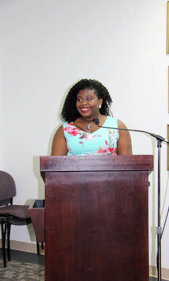 The Edwardsville City Council recognized EHS incoming senior, Scottlynn Ballard, Tuesday for her second place finish at the National Poetry Out Loud competition in Washington D.C. Photo: Charles Bolinger | The Intelligencer