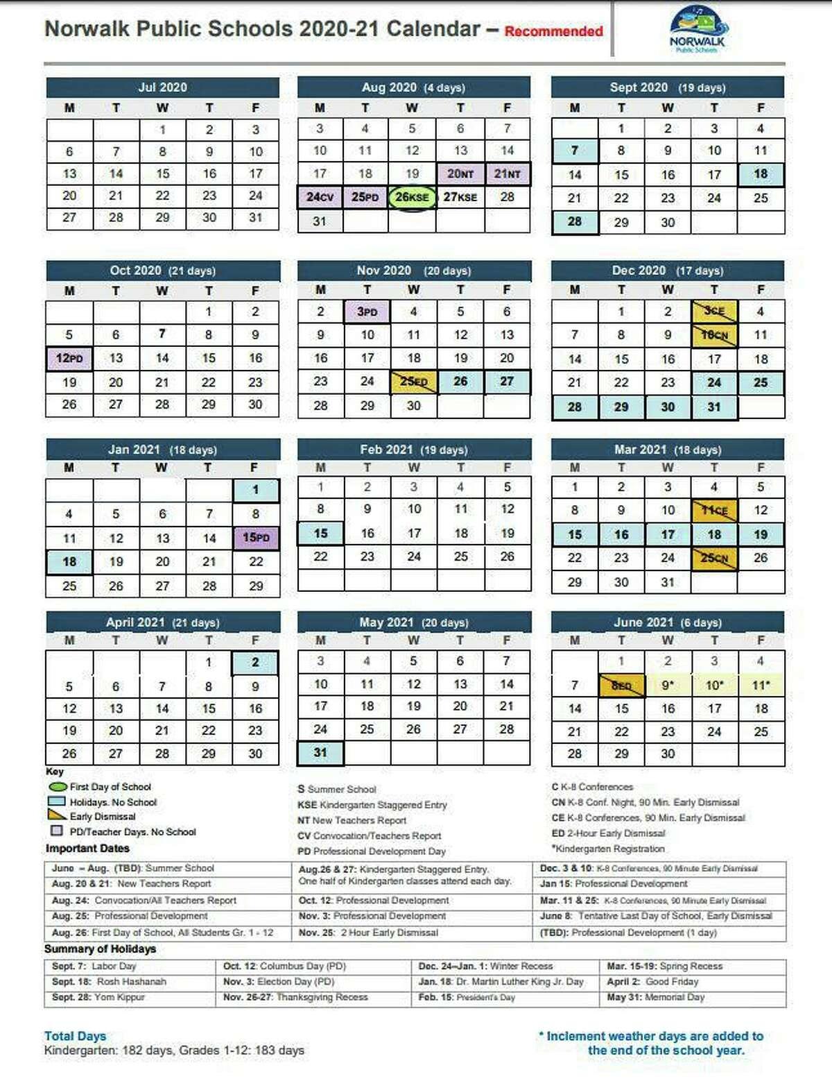 The proposed Norwalk Public Schools 2020-2021 calendar.