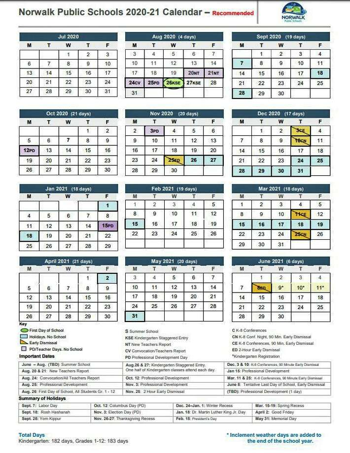 The proposed Norwalk Public Schools 2020-2021 calendar. Photo: Contributed