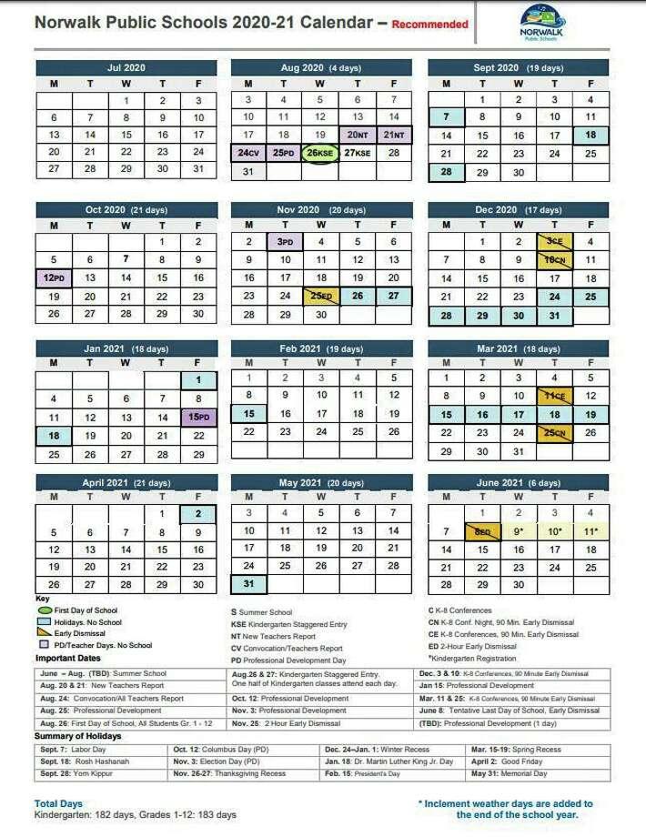 The proposed Norwalk Public Schools 2020-2021 calendar. Photo: Contributed