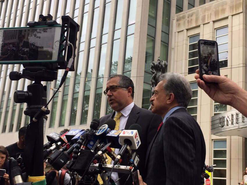 Keith Raniere attorney Marc Agnifilo speaks to reporters following the verdict on Wednesday, June 19, 2019, in Brooklyn, N.Y. (Rob Gavin/Times Union)