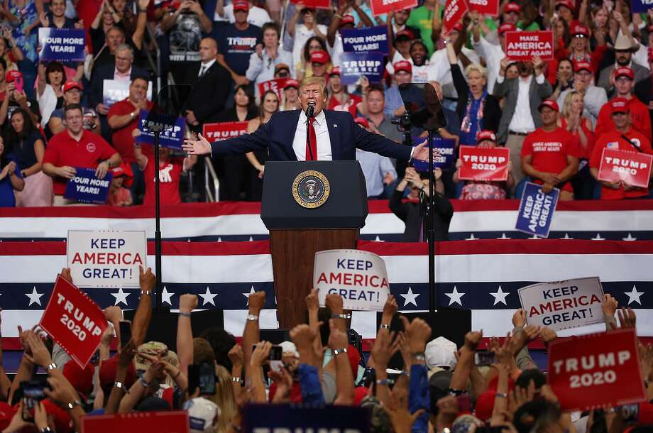 President Trump speaks during his reelection kickoff campaign rally at the Amway Center in Orlando, Fla., on Tuesday, June 18. Photo: Stephen M. Dowell / TNS / Orlando Sentinel