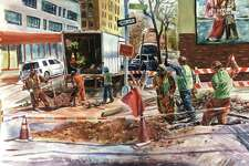 """Asilbek Akmalov's """"Construction Day"""" is featured in """"iCreate"""" at the Bruce Museum in Greenwich."""