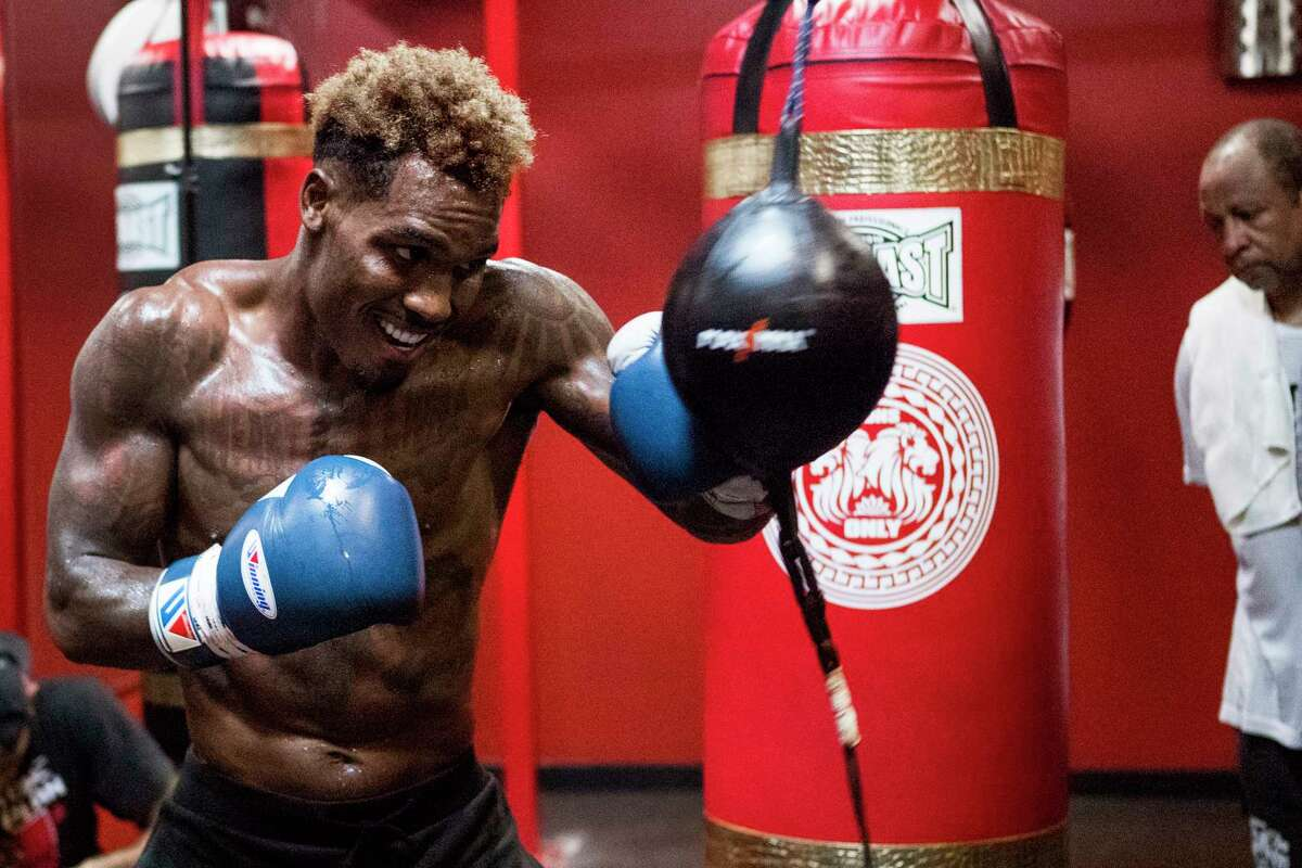 WBC Middleweight Champion Jermall Charlo works out in preparation for his upcoming fight against against Brandon Adams on Wednesday, June 19, 2019, in Houston. Charlo and Adams will face off on June 29 at NRG Arena.