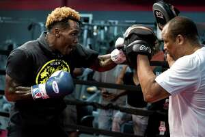 WBC Middleweight Champion Jermall Charlo works out with trainer Ronnie Shields in preparation for his upcoming fight against against Brandon Adams on Wednesday, June 19, 2019, in Houston. Charlo and Adams will face off on June 29 at NRG Arena.