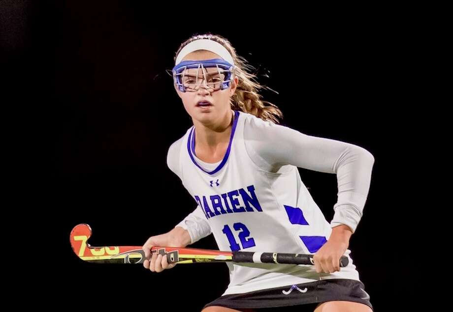 Sydney Schrenker, above at the start of states, scored a beauty in the semifinals. Courtesy Darien Athletic Foundation / (c)Mark Maybell