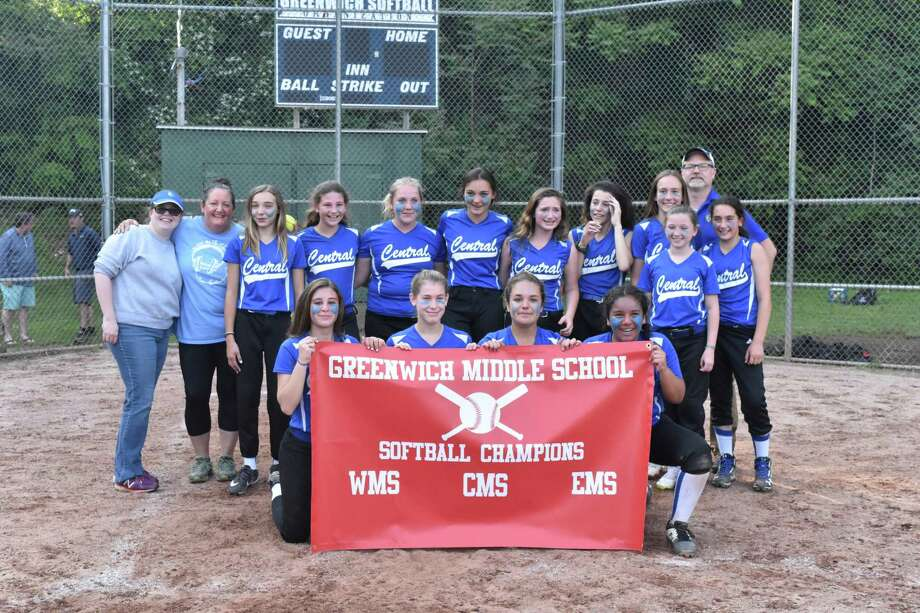 Central Middle School claimed the softball title at the Greenwich Middle School championship, recently. The championship team included, front row, left to right: Carly Kral, Paige Goldring, Kate D'Andrea and Ciarra Castro. Photo: Contributed Photo / Greenwich Time Contributed
