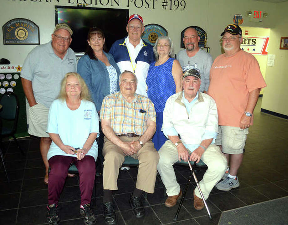 The planning committee for the Edwardsville Post #199 centennial celebration, scheduled for Sept. 14, includes, front row left to right, Eva Sterling, Marion Strohman and Larry Ranek. In the back row, from left to right, are Don Takacs, Lorra Sabo, Ron Swaim, Leota Hosto, Ed Hosto and John Pinegar. Photo: Scott Marion | The Intelligencer