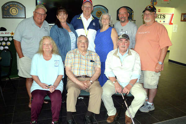 The planning committee for the Edwardsville Post #199 centennial celebration, scheduled for Sept. 14, includes, front row left to right, Eva Sterling, Marion Strohman and Larry Ranek. In the back row, from left to right, are Don Takacs, Lorra Sabo, Ron Swaim, Leota Hosto, Ed Hosto and John Pinegar.