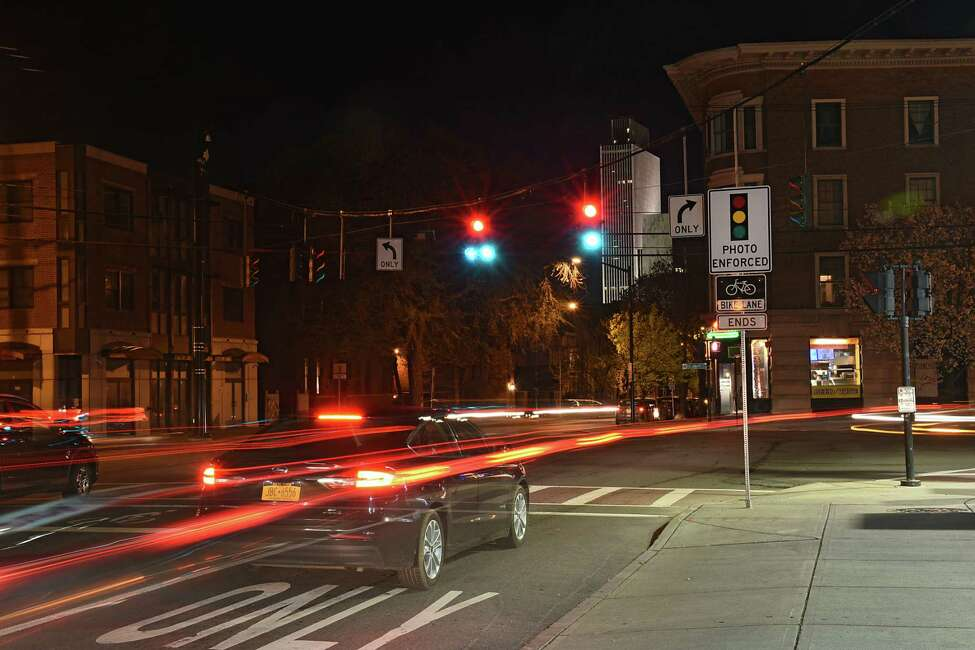 Traffic light at the intersection of Madison Ave., Lark St. and Delaware Ave. on Tuesday, April 30, 2019 in Albany, N.Y. (Lori Van Buren/Times Union)