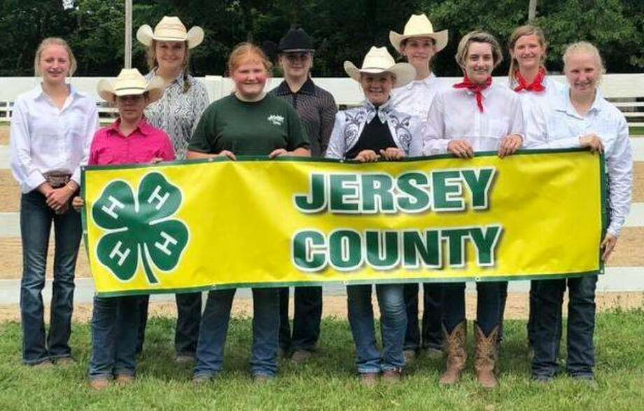 Jersey County 4-H members participated in the Unit 18 Horse Show in Gillespie on June 8. Pictured are, from left, front row, Mary Jones, Izabella Harris, Ava Pegram, Elissabeth Walsh and Peyton Eldridge; back row, Jayme Shaffer, Kate Jones, Kelsey Belcher, Allison Brown and Gennasee Cannon.