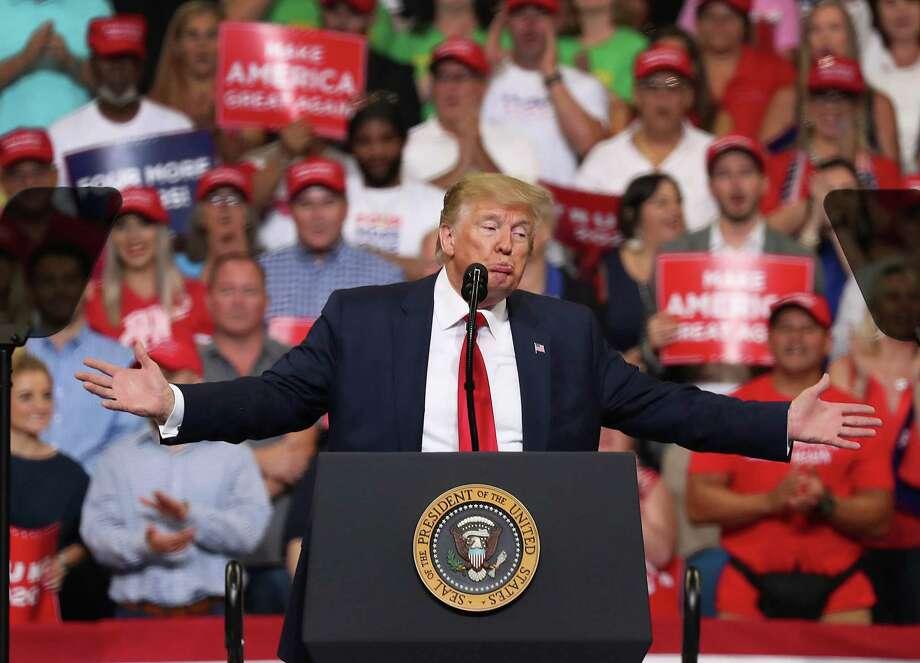El presidente Donald Trump da un discurso para anunciar su campana de reeleccion del 2020, el martes 18 de junio de 2019, en Orlando, Florida. (Joe Raedle/Getty Images/TNS) **FOR USE WITH THIS STORY ONLY** Photo: Joe Raedle, HO / TNS / Getty Images North America