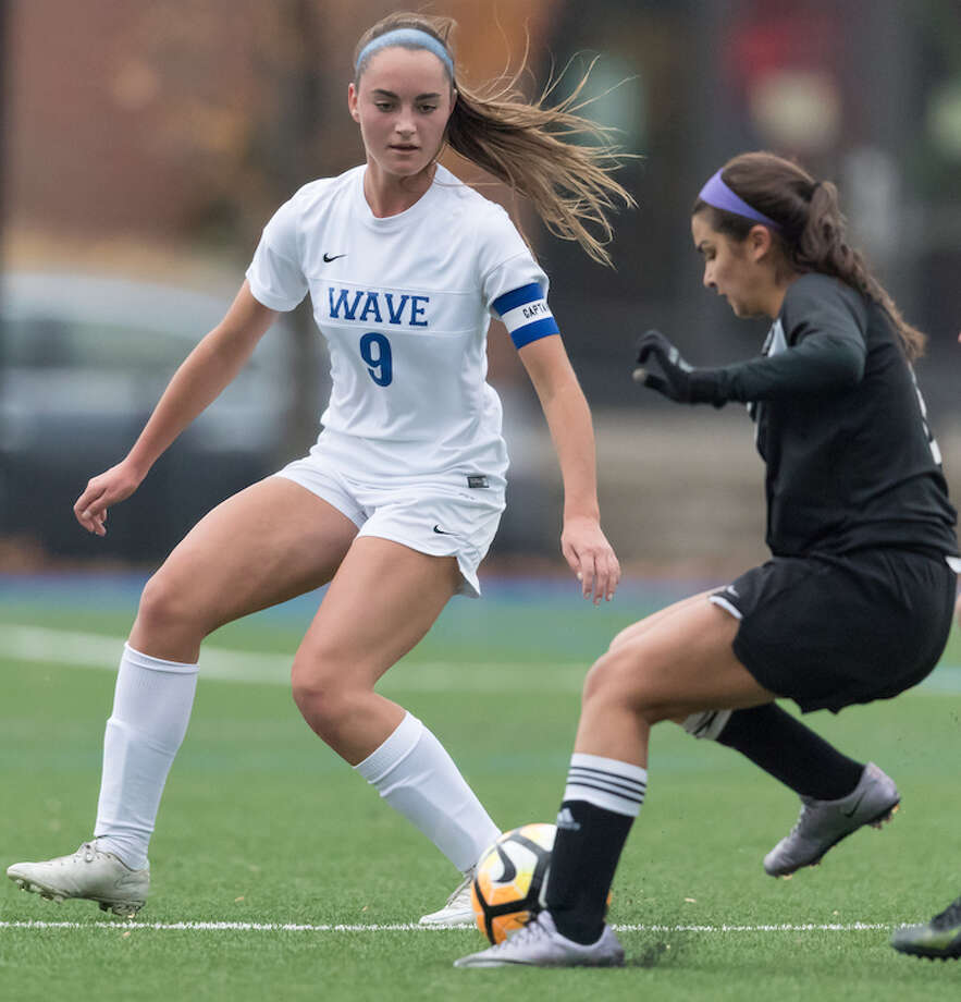 Senior Charlotte Harmon in her last action on the pitch in 2016. Courtesy Darien Athletic Foundation