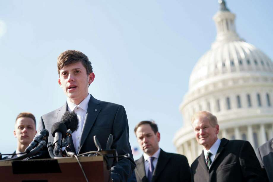 Kyle Kashuv, a student survivor of the Marjory Stoneman Douglas High School shooting, joins senators to speak at a news conference about support for the STOP School Violence Act, outside the U.S. Capitol March 13, 2018. Harvard College rescinded its admission offer over racist and offensive remarks he made as a 16-year-old student. Photo: ERIN SCHAFF /NYT / NYTNS
