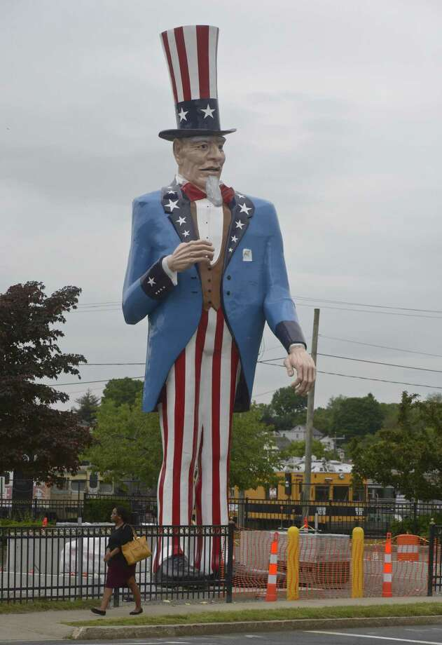 The refurbished Uncle Sam statue, originally displayed at the Danbury Fair, was been installed in front of the Danbury Railway Museum last month Photo: H John Voorhees III / Hearst Connecticut Media / The News-Times