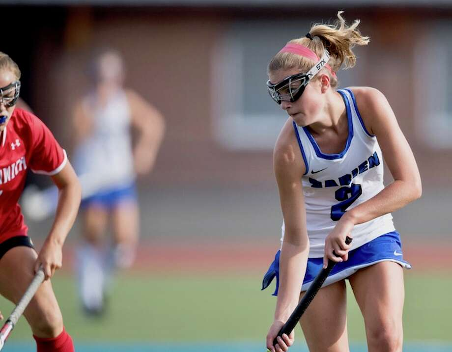 Sally Cassidy on the attack. Courtesy Darien Athletic Foundation / Mark Maybell