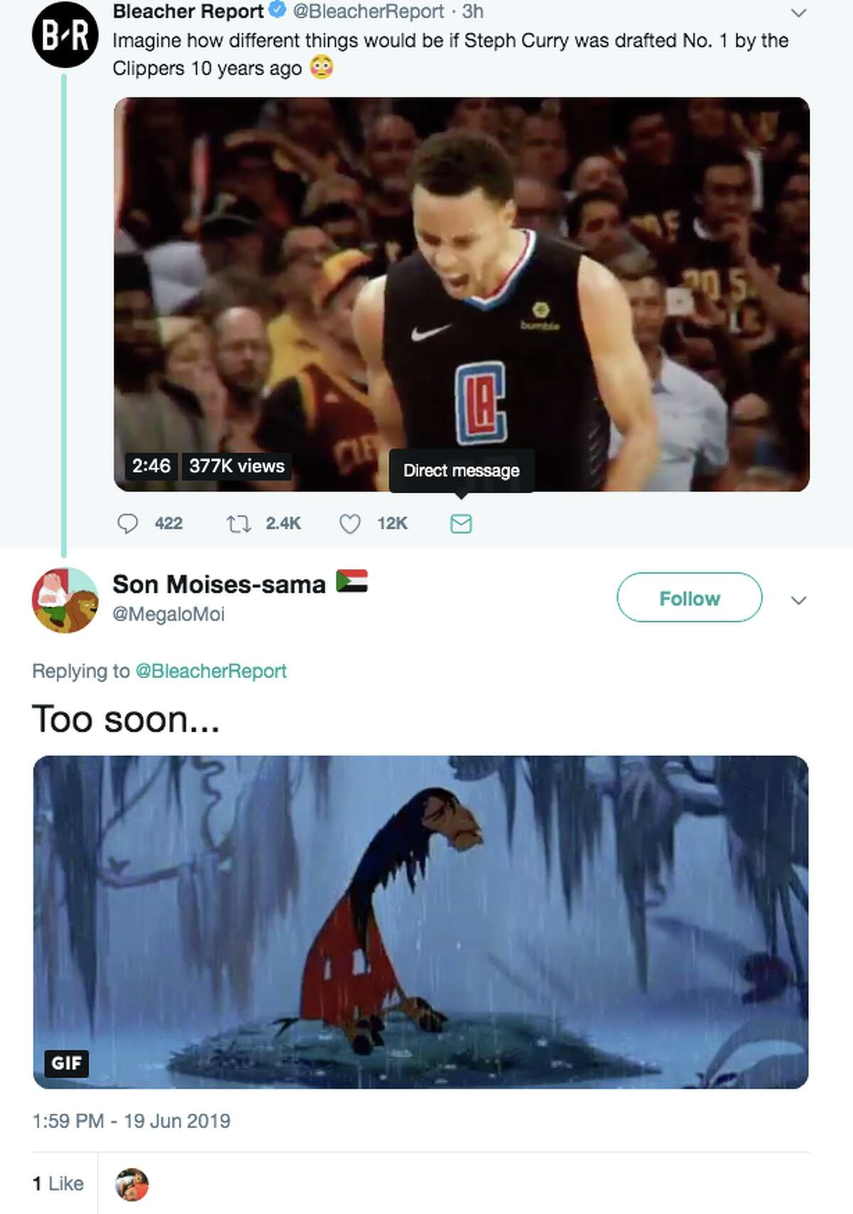 Basketball fans had fun with Bleacher Report's video imagining what the NBA would be like if the Los Angeles Clippers drafted Steph Curry instead of the Golden State Warriors.