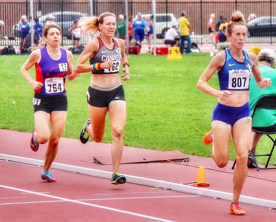 Jennifer St. Jean kicks to the finish in Toronto.