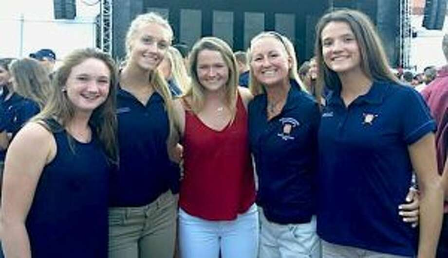 At the Opening Ceremonies of the USRowing Junior World Championships, with CBC current team members and alumnus (from left) Bridget Galloway (current), Kaitlyn Kynast (Stanford University '21), Meg Galloway (Yale University '18), Coach Liz Trond, Julia Abbruzzese (current).