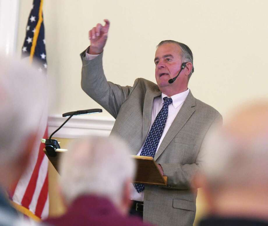 State Rep. Steve Meskers, D-Greenwich, speaks during the Retired Men's Association's weekly speaker series at First Presbyterian Church in Greenwich, Conn. Wednesday, June 19, 2019. Photo: Tyler Sizemore / Hearst Connecticut Media / Greenwich Time