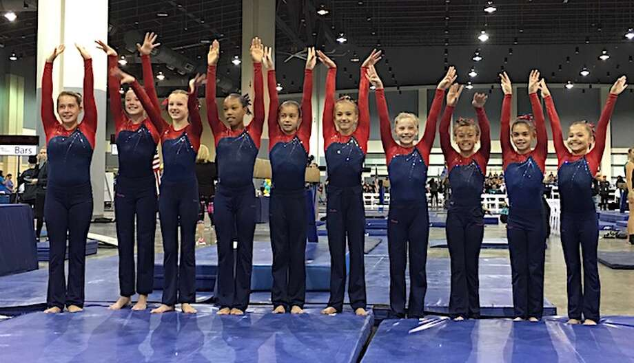 The Darien YMCA Level 7 National Champion team members are (from left) Lana Schmidt, Holly McGoldrick (New Canaan), Paige Domenici, Leilani Nguyen, Bella DeStefano, Saskia Chermayeff, Kate Wolters, Tori Ware, Sofia DeStefano and Nadia Borja.