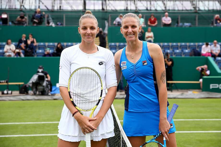 BIRMINGHAM, ENGLAND - JUNE 19: Karolina Pliskova of the Czech Republic (R) and twin sister Kristyna Pliskova of the Czech Republic (L) pose for a photo ahead of their second round match during day three of the Nature Valley Classic at Edgbaston Priory Club on June 19, 2019 in Birmingham, United Kingdom. (Photo by Jordan Mansfield/Getty Images for LTA) Photo: Jordan Mansfield / Getty Images For LTA