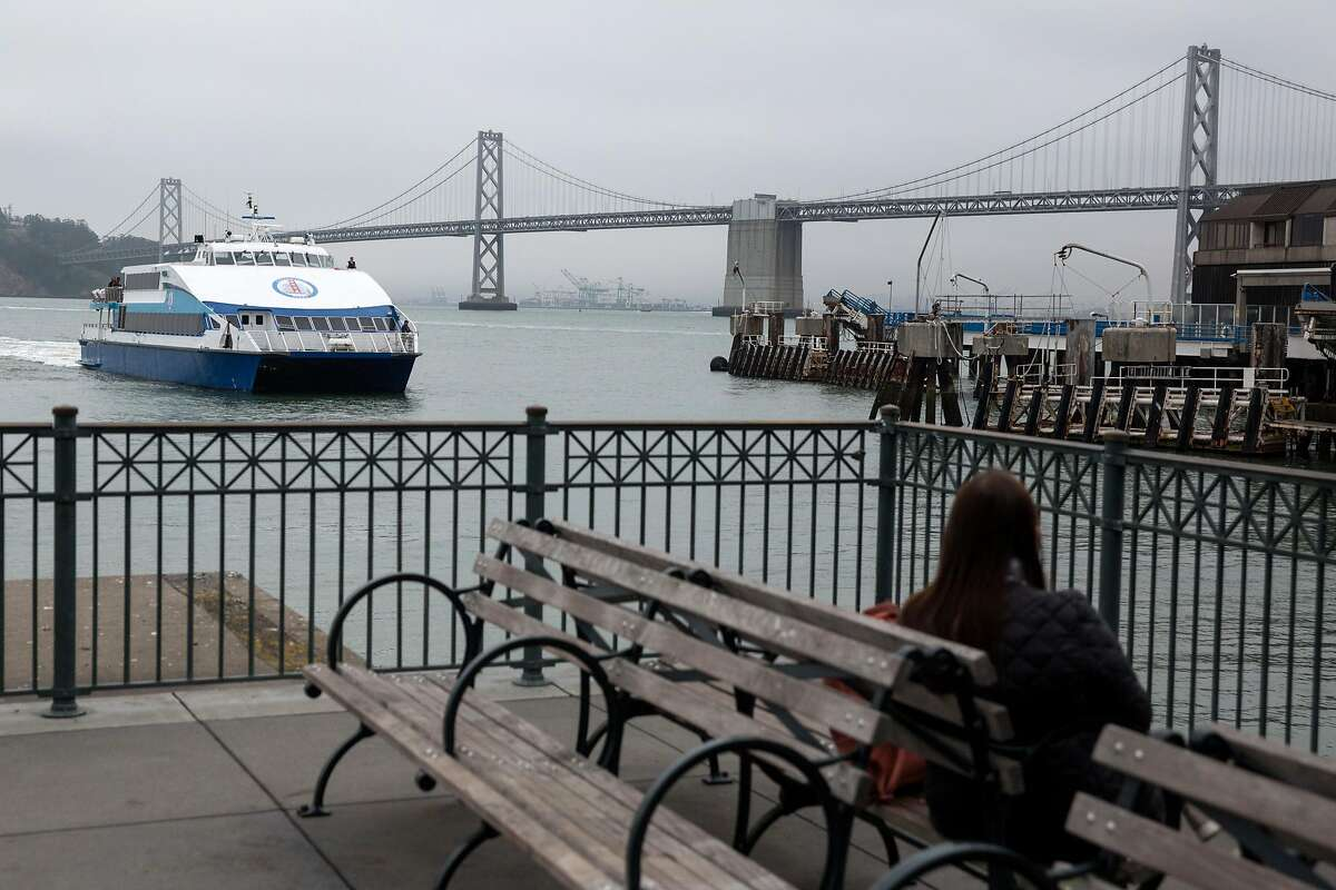 Golden Gate transit ferry coming into the dock at the Ferry Building on Wednesday, June 19, 2019. San Francisco, Calif.