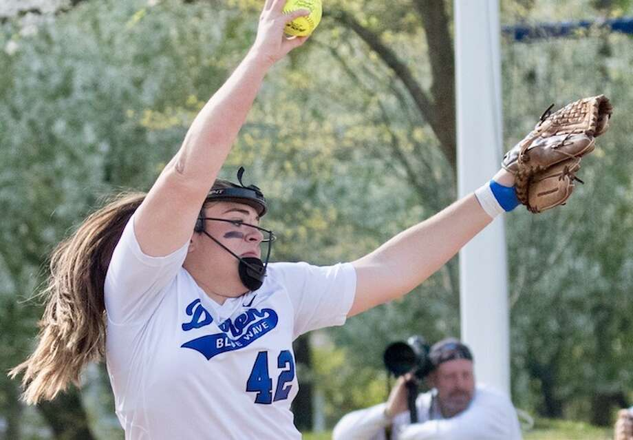 Sophia Barbour gets the win on the mound. Courtesy Darien Athletic Foundation