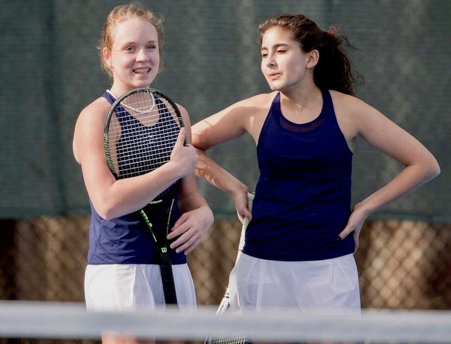 Wave doubles tandem, freshman Elaina Cummiskey (left) and senior Susie Alptekin have shown an instant good chemistry on the court. Courtesy Darien Athletic Foundation / (c)Mark Maybell