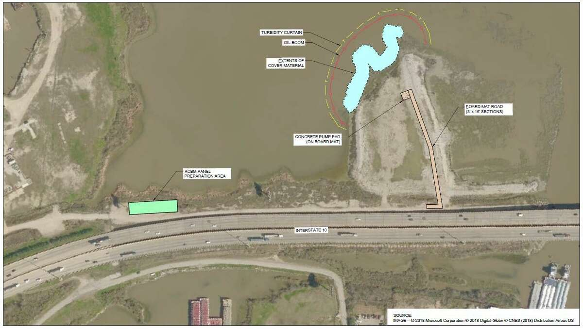 An articulated concrete block mat is being installed in the area shown in blue. It will extend from the surface of the capped area to the floor of the San Jacinto River. About 4,100 square yards of the material will be installed over the existing cap on a steep slope in the northwest area of the northern impoundment.