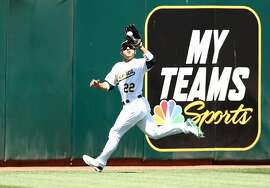 OAKLAND, CALIFORNIA - JUNE 19: Ramon Laureano #22 of the Oakland Athletics catches a ball hit by Chris Davis #19 of the Baltimore Orioles in the seventh inning at Ring Central Coliseum on June 19, 2019 in Oakland, California. (Photo by Ezra Shaw/Getty Images)