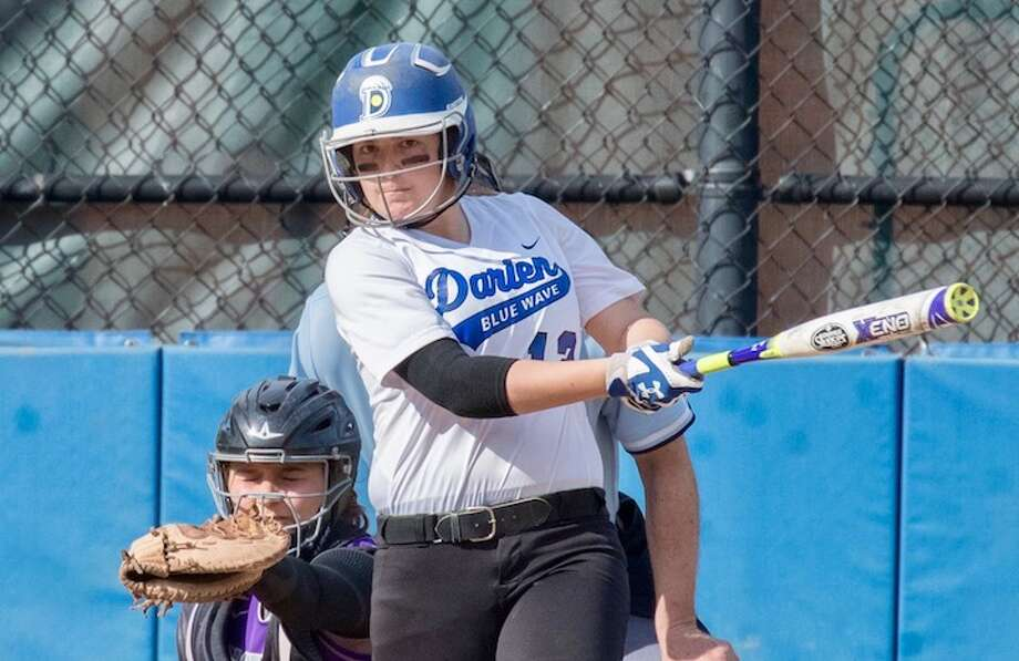 Cassidy Schiff is part of the hefty Wave attack at bat. Courtesy Darien Athletic Foundation