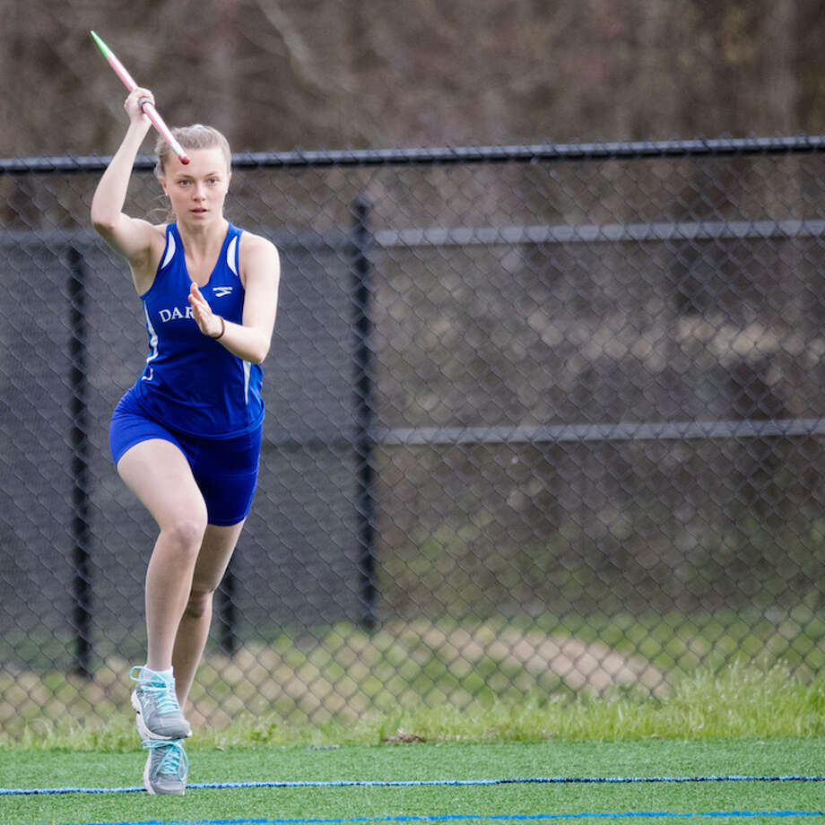 Maggie Skeats lines up her javelin toss on Monday. Courtesy Darien Athletic Foundation / (c)Mark Maybell