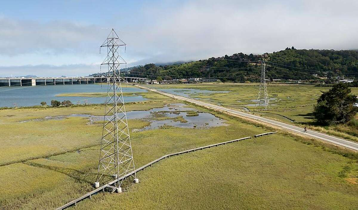 Power lines are seen in Mill Valley on Wednesday, June 19, 2019. PG&E is overhauling part of a major transmission line in Marin County that serves Sausalito.