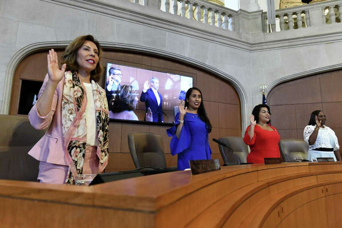 Shirley Gonzales, left, Adriana Rocha Garcia, Rebecca Viagran and Jada Andrews-Sullivan take the oath during an inauguration ceremony for members of San Antonio's new City Council on Wednesday, June 19, 2019. Eight incumbents returned, and three new members - Andrews-Sullivan, Adriana Rocha Garcia and Melissa Cabello Havrda, help form the second female-majority City Council in San Antonio's history.