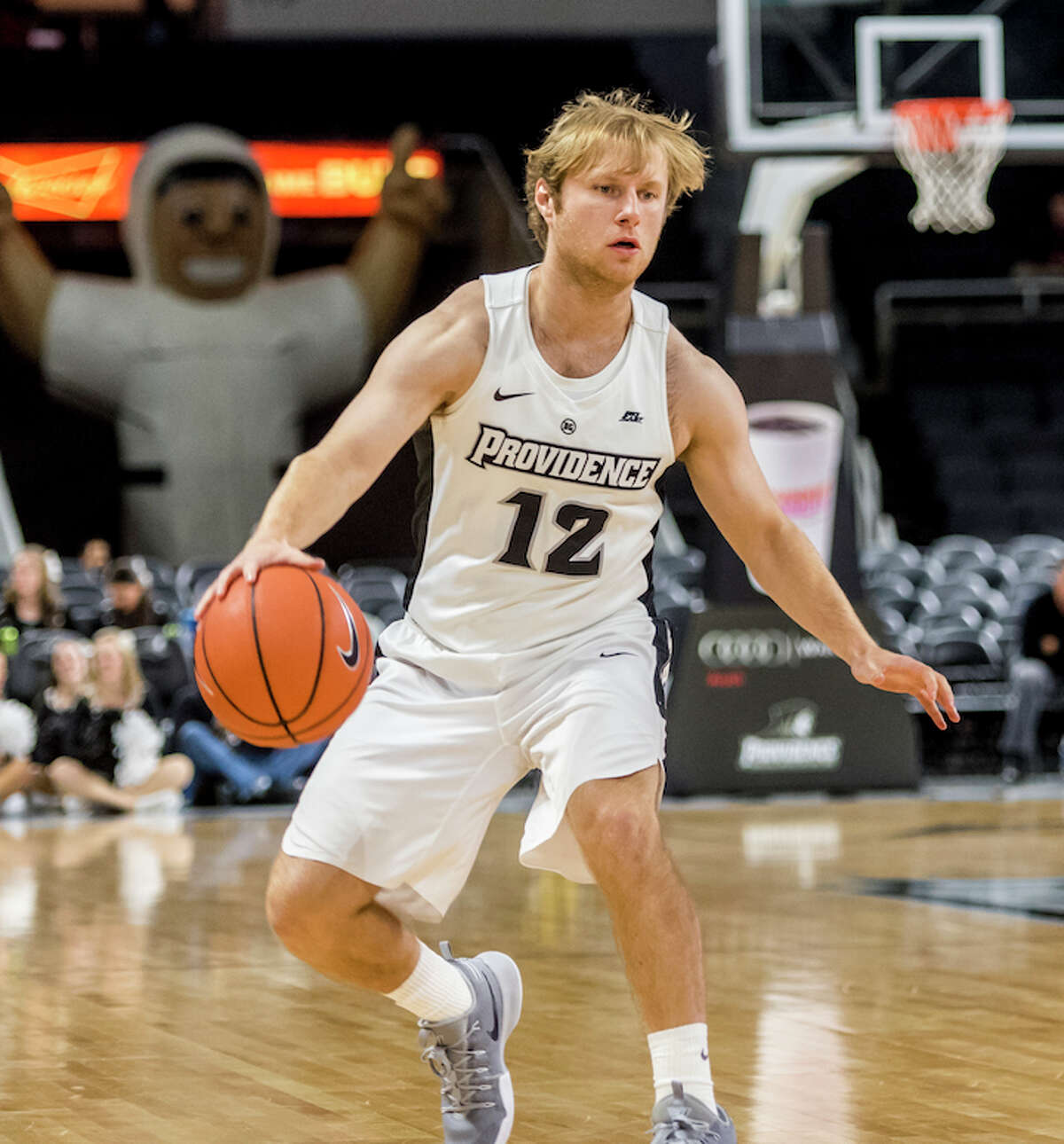 Casey Woodring fired it up on the Friars floor every chance he got.