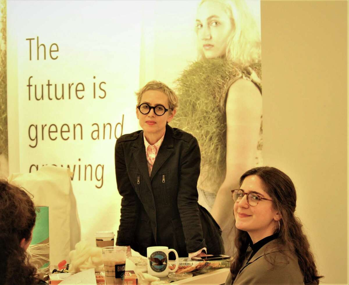 In a project at the Stamford Town Center mall, a group called TILL, Today's Industrial Living Landscapes, created a the bioFASHIONtech lab to develop ecological, bio-based methods of making clothing, in the spring of 2019. Pictured are co-founders Jane Philbrick, left, and Olivia Greenspan.