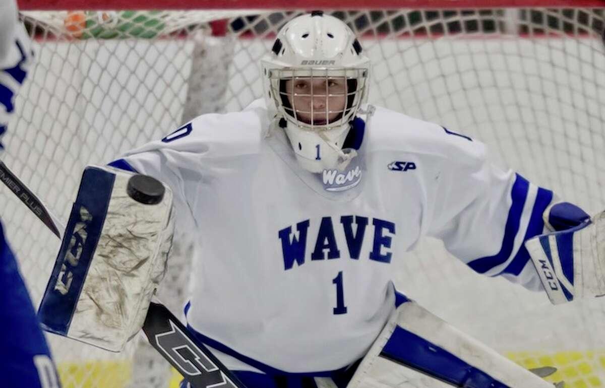 Senior Brendan Bumgardner in goal for the Wave. Courtesy Darien Athletic Foundation