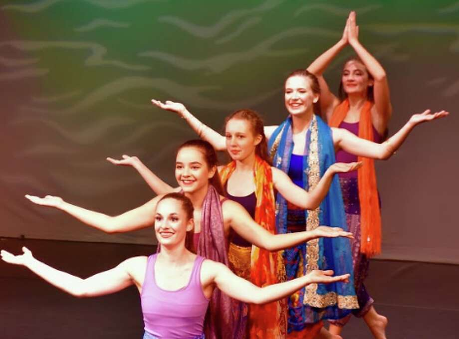 Dance students performing at the Darien Arts Center. From front to back: Katie Keever, Meghan Wood, Emma Chute, Anna Camp, Sophia Perkins — Sabina Harris photo