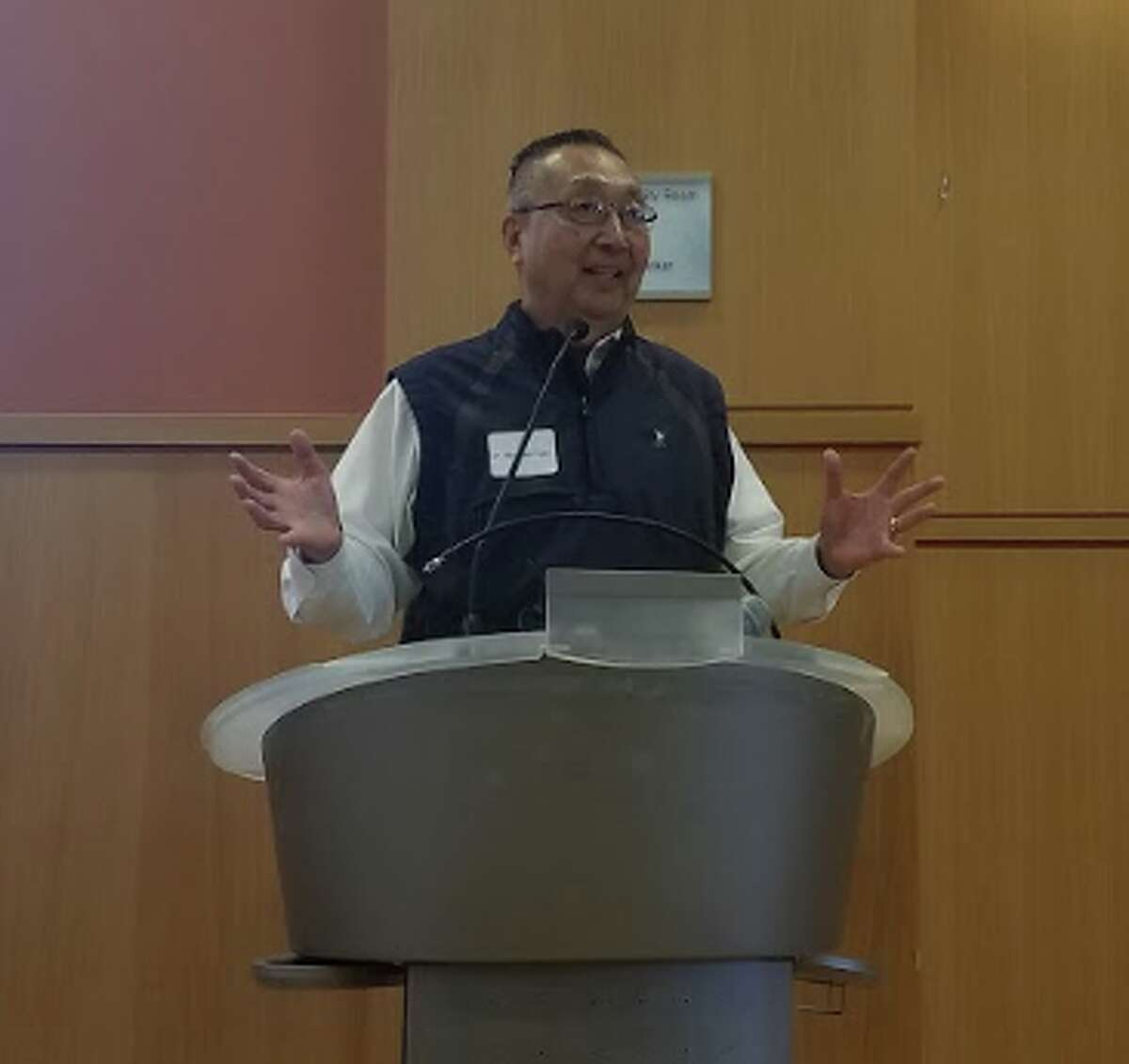 Dr. Michael Ego, University of Connecticut Professor of Human Development & Family Studies, came to the Darien Library on Dec. 6 to speak about misconceptions in aging. - Sandra Diamond Fox photo