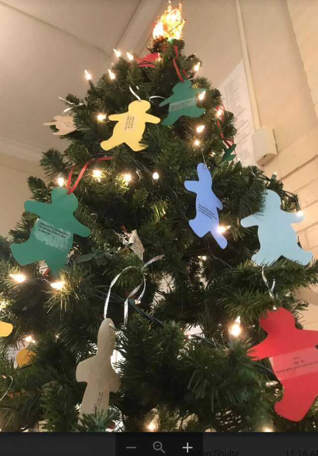 The Gingerbread Man tree in Town Hall.