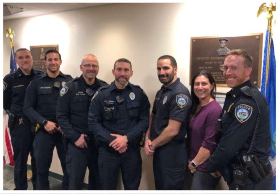 Lt. R. Shreders, left, Officer J. Cusano, Officer R. Flood, Officer K. Taggart, Officer M. Dos Santos, Sgt. A. Hudyma, Lt. T. Whyte