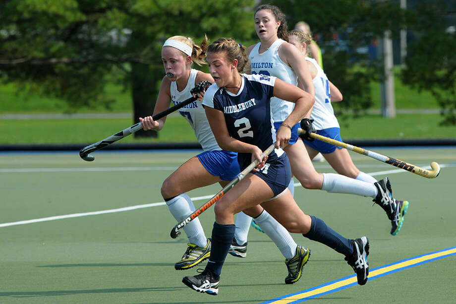 Darien's Marissa Baker in action for the Middlebury Panthers. Baker and the Panthers defeated Tufts 2-0 on Sunday to win their second straight NCAA Div. III championship. — Middlebury Athletics photo