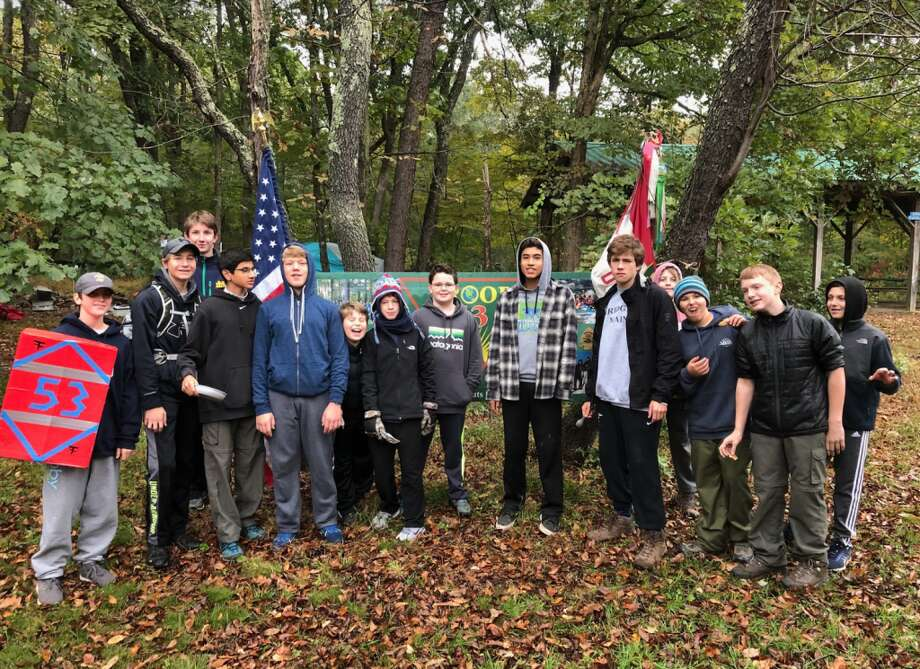 Winning Troop 53 included Dean Ambrose, left, Tate Hanson, SPL Shawn Huffert, Gaurav Parwal, Pace Flaherty, Robert Marquis, Padraig Brown, Peter Grace, Khrystos Yika-Nacarino, Cormac Brown, Wade Flaherty, Daniel Tiagi, Will Laird, and Connor Blenke.