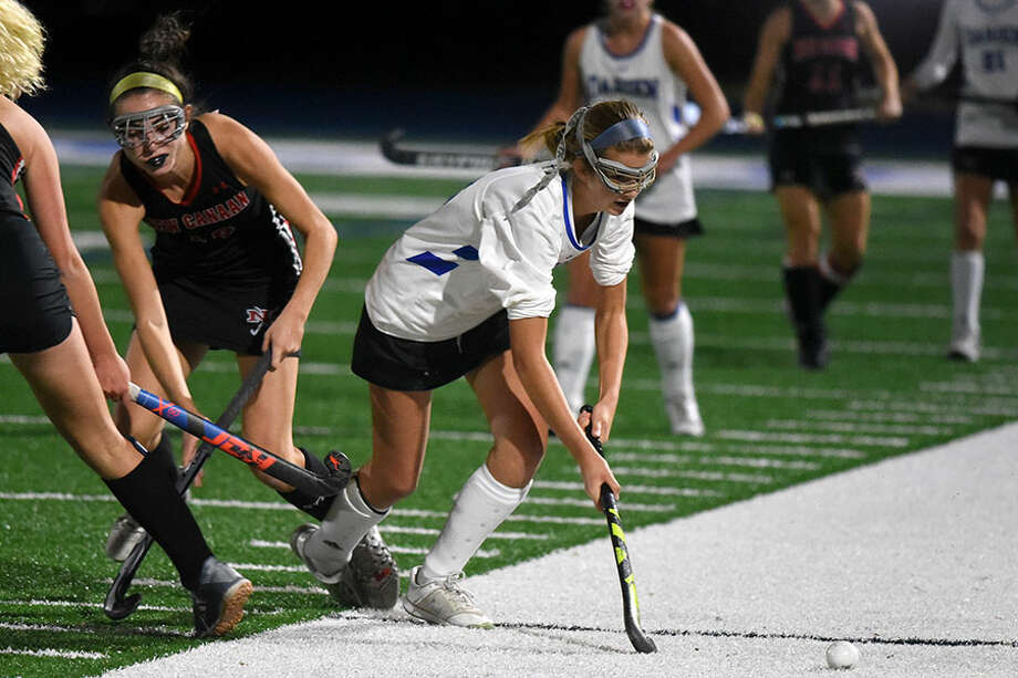 Darien's Shea van den Broek, shown in action against New Canaan on Nov. 7, scored twice in the Wave's 4-0 win over Hall in the Class L quarterfinals. — Dave Stewart photo