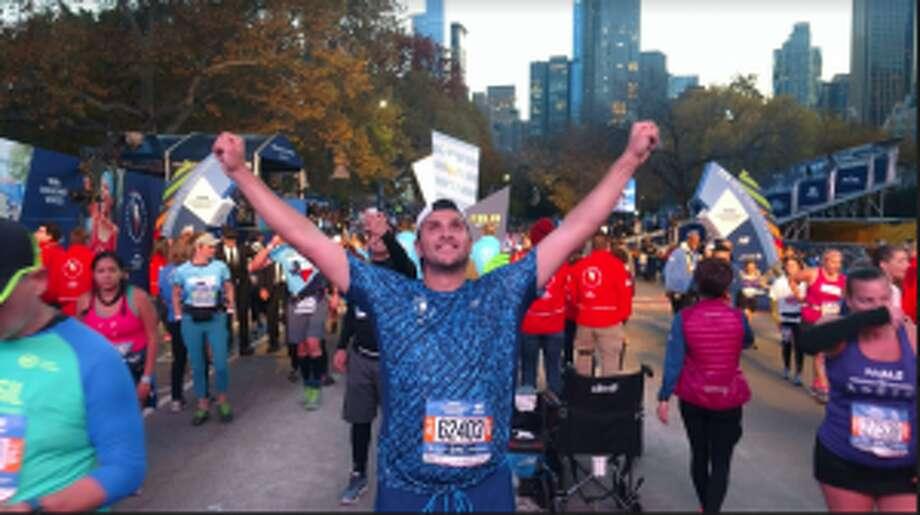 Darien resident Paul Nelson at the finish line of the TCS New York City Marathon on Sunday, Nov. 4.