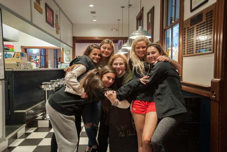 Annie Arrix, Emma Cavoli, Mason Maloney, Kaitlyn Olvany, and Sophia Bremer with Depot Program Director Janice Marzano. — Laureen Vellante photo